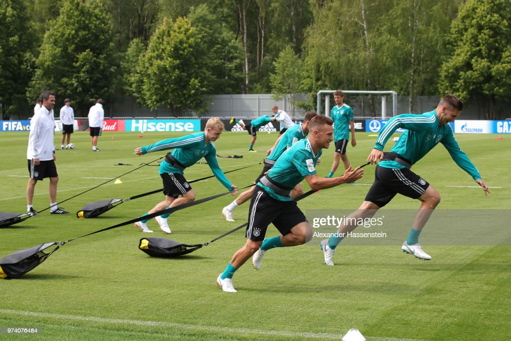 Joshua Kimmich of Germany (C) takes part during the Germany training session ahead of the 2018 FIFA World Cup at CSKA Sports Base on June 14, 2018 in Moscow, Russia.