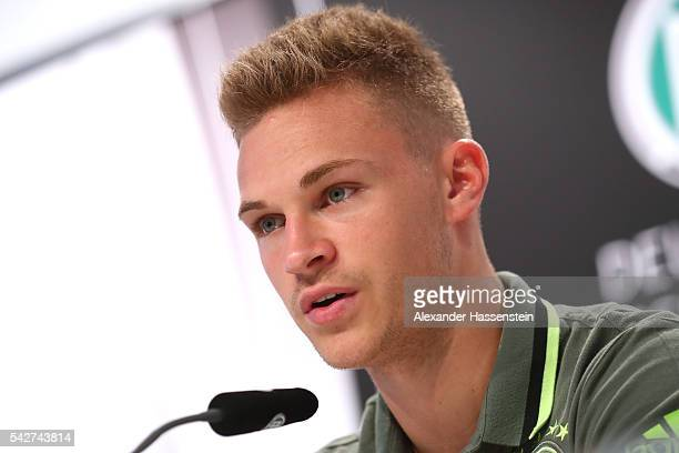 Joshua Kimmich of Germany talks to the media during a Germany press conference at Ermitage Evian on June 24 2016 in EvianlesBains France