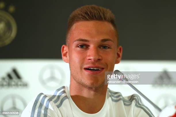 Joshua Kimmich of Germany talks to the media during a Press Conference of the German national team at Radisson Blu Paradise Resort Spa on June 16...