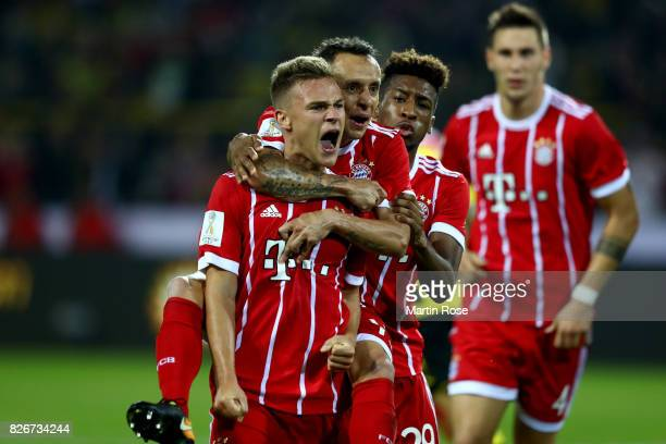 Joshua Kimmich of Muenchen celebrates after scoring the equalizing goal during the DFL Supercup 2017 match between Borussia Dortmund and Bayern...