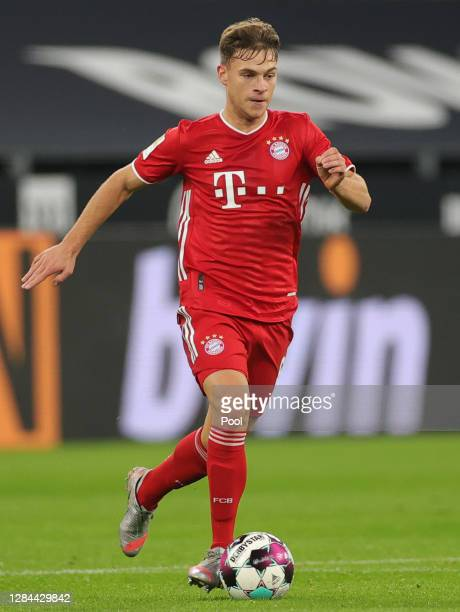 Joshua Kimmich of Muenchen controls the ball during the Bundesliga match between Borussia Dortmund and FC Bayern Muenchen at Signal Iduna Park on...