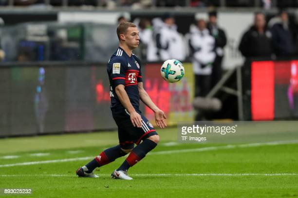 Joshua Kimmich of Muenchen controls the ball during the Bundesliga match between Eintracht Frankfurt and FC Bayern Muenchen at CommerzbankArena on...