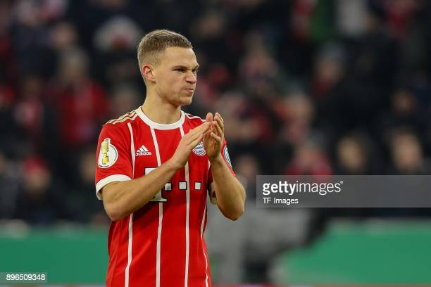 Joshua Kimmich of Muenchen gestures after the DFB Cup match between Bayern Muenchen and Borussia Dortmund at Allianz Arena on December 20 2017 in...