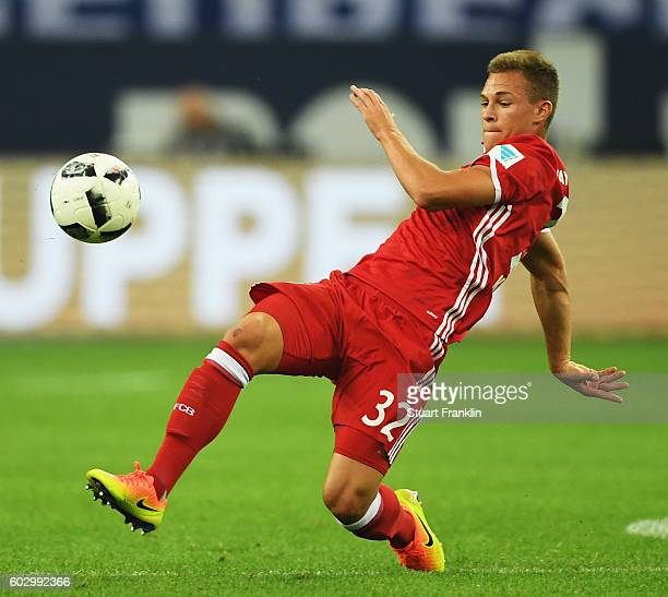 Joshua Kimmich of Muenchen in action during the Bundesliga match between FC Schalke 04 and Bayern Muenchen at VeltinsArena on September 9 2016 in...