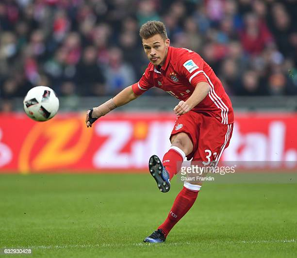 Joshua Kimmich of Muenchen in action during the Bundesliga match between Werder Bremen and Bayern Muenchen at Weserstadion on January 28 2017 in...