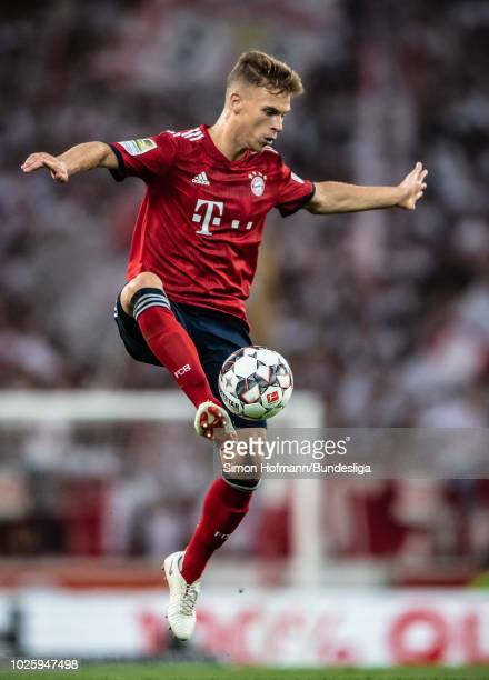 Joshua Kimmich of Muenchen in action during the Bundesliga match between VfB Stuttgart and FC Bayern Muenchen at MercedesBenz Arena on September 1...