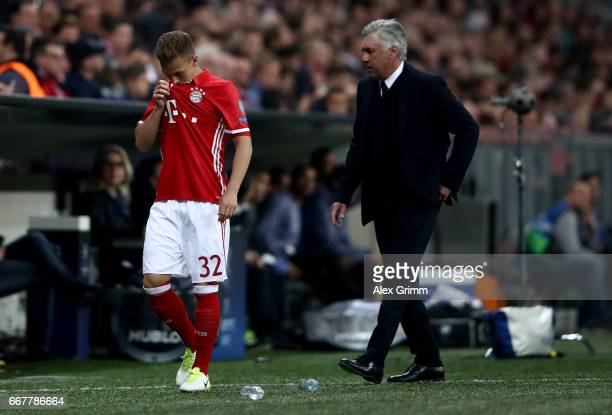 Joshua Kimmich of Muenchen looks dejected after the UEFA Champions League Quarter Final first leg match between FC Bayern Muenchen and Real Madrid CF...