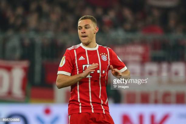 Joshua Kimmich of Muenchen looks on during the DFB Cup match between Bayern Muenchen and Borussia Dortmund at Allianz Arena on December 20 2017 in...