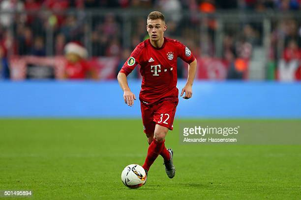 Joshua Kimmich of Muenchen runs with the ball during the round of 16 DFB Cup match between FC Bayern Muenchen and Darmstadt 98 at Allianz Arena on...