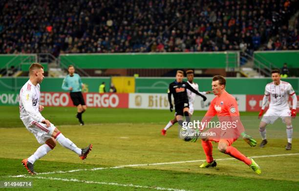 Joshua Kimmich of Muenchen scores the 3rd goal during the DFB Cup quarter final match between SC Paderborn and Bayern Muenchen at Benteler Arena on...
