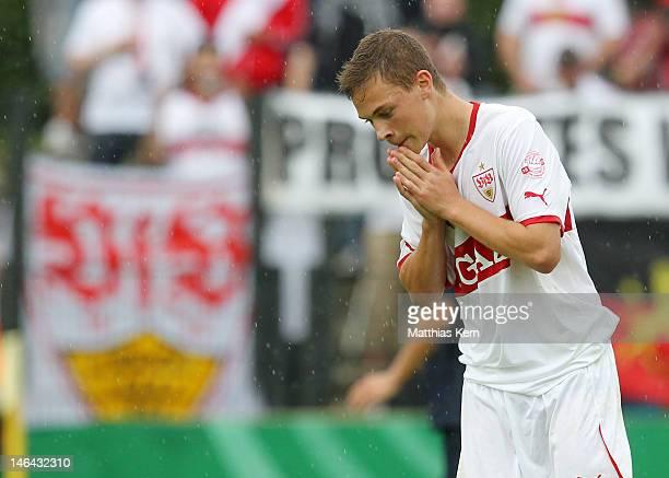 Joshua Kimmich of Stuttgart shows his frustration during the B Juniors Bundesliga final match between Hertha BSC Berlin and VFB Stuttgart at Stadion...