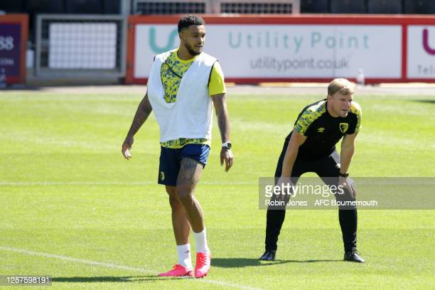 Joshua King and Eddie Howe of Bournemouth during a training session at the Vitality Stadium on July 22 2020 in Bournemouth England