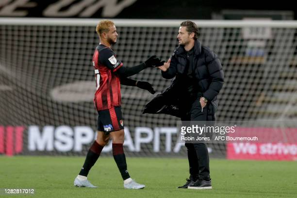 Joshua King and Jason Tindall of Bournemouth during the Sky Bet Championship match between AFC Bournemouth and Bristol City at Vitality Stadium on...