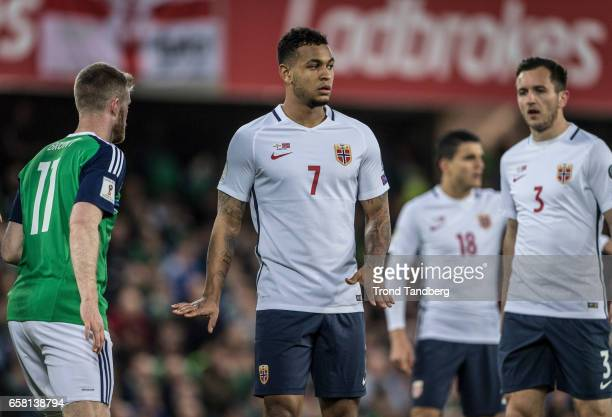 Joshua King Even Hovland of Norway during the FIFA 2018 World Cup Qualifier between Northern Ireland and Norway at Windsor Park on March 26 2017 in...