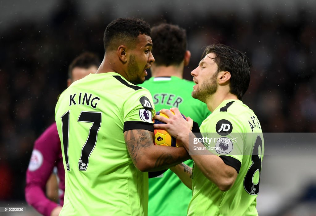 Joshua King of AFC Bournemouth (L) and Harry Arter of AFC Bournemouth (R) argue over who will take the penalty during the Premier League match between West Bromwich Albion and AFC Bournemouth at The Hawthorns on February 25, 2017 in West Bromwich, England.