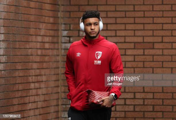 Joshua King of AFC Bournemouth arrives before the Premier League match between Burnley FC and AFC Bournemouth at Turf Moor on February 22, 2020 in...