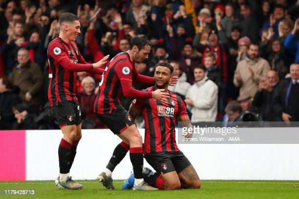 Joshua King of AFC Bournemouth celebrates after scoring a goal to make it 1-0 during the Premier League match between AFC Bournemouth and Manchester...