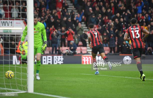 Joshua King of AFC Bournemouth celebrates after scoring his sides first goal during the Premier League match between AFC Bournemouth and Manchester...