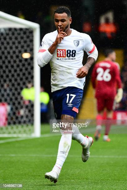 Joshua King of AFC Bournemouth celebrates after scoring his team's second goal during the Premier League match between Watford FC and AFC Bournemouth...