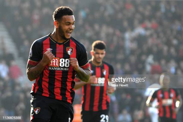 Joshua King of AFC Bournemouth celebrates after scoring his team's first goal from the penalty spot during the Premier League match between AFC...