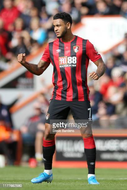 Joshua King of AFC Bournemouth celebrates after scoring his team's first goal during the Premier League match between AFC Bournemouth and West Ham...