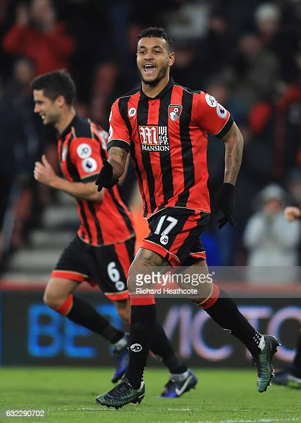 Joshua King of AFC Bournemouth celebrates scoring his sides first goal during the Premier League match between AFC Bournemouth and Watford at...