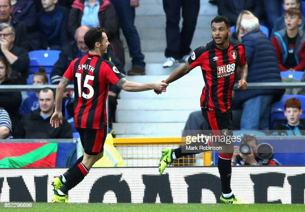 Joshua King of AFC Bournemouth celebrates scoring his sides first goal with Adam Smith of AFC Bournemouth during the Premier League match between...
