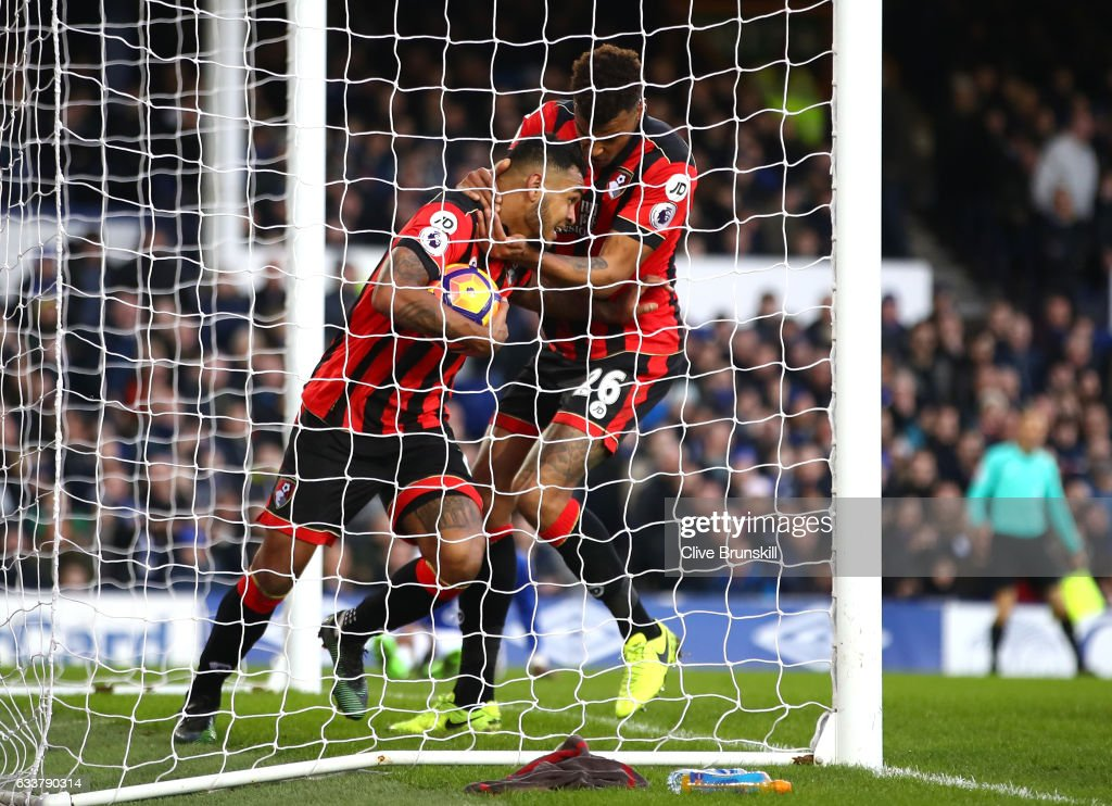 Joshua King of AFC Bournemouth (L) celebrates scoring his sides second goal with Tyrone Mings of AFC Bournemouth (R) during the Premier League match between Everton and AFC Bournemouth at Goodison Park on February 4, 2017 in Liverpool, England.