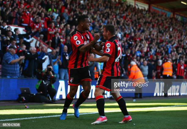 Joshua King of AFC Bournemouth celebrates scoring his sides second goal with Ryan Fraser of AFC Bournemouth during the Premier League match between...