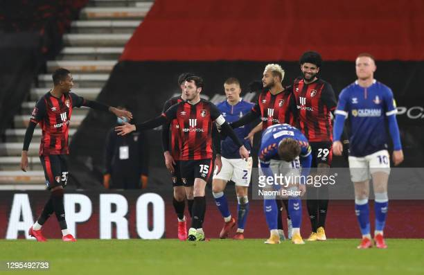 Joshua King of AFC Bournemouth celebrates with Jaidon Anthony, Adam Smith and Philip Billing after scoring his team's third goal during the FA Cup...