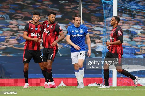 Joshua King of AFC Bournemouth celebrates with teammate boafter scoring his team's first goal during the Premier League match between Everton FC and...