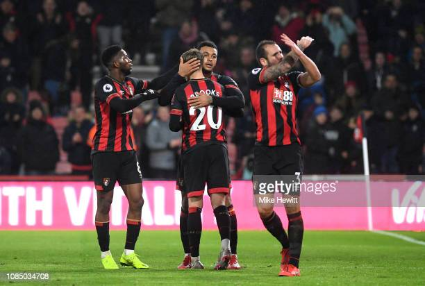 Joshua King of AFC Bournemouth celebrates with teammates after scoring his team's second goal during the Premier League match between AFC Bournemouth...