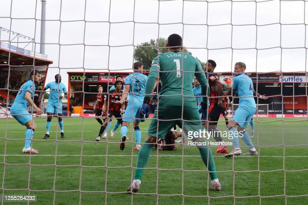 Joshua King of AFC Bournemouth handles the ball to disallow Callum Wilson of AFC Bournemouth first goal of the game during the Premier League match...