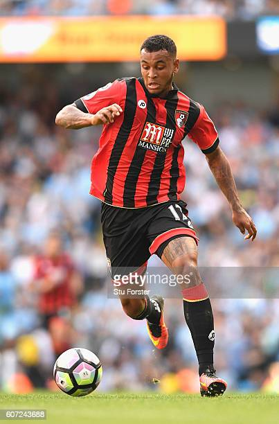 Joshua King of AFC Bournemouth in action during the Premier League match between Manchester City and AFC Bournemouth at the Etihad Stadium on...