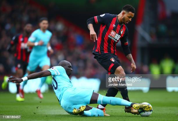 Joshua King of AFC Bournemouth is challenged by Mohamed Diame of Newcastle United during the Premier League match between AFC Bournemouth and...