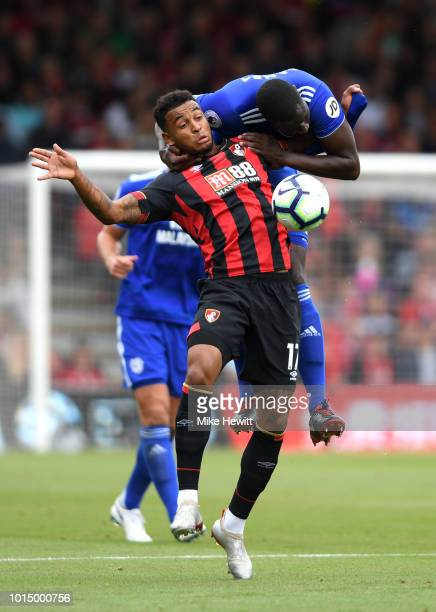 Joshua King of AFC Bournemouth is challenged by Sol Bamba Cardiff City during the Premier League match between AFC Bournemouth and Cardiff City at...