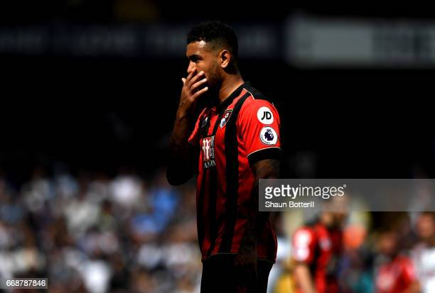 Joshua King of AFC Bournemouth looks on during the Premier League match between Tottenham Hotspur and AFC Bournemouth at White Hart Lane on April 15...