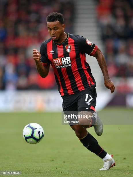 Joshua King of AFC Bournemouth makes a break during the Premier League match between AFC Bournemouth and Cardiff City at Vitality Stadium on August...
