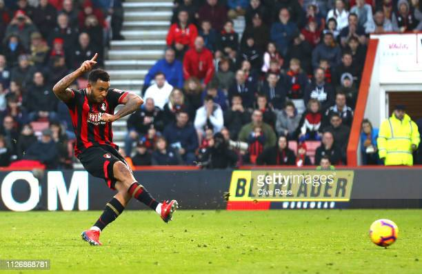 Joshua King of AFC Bournemouth misses a penalty during the Premier League match between AFC Bournemouth and Wolverhampton Wanderers at Vitality...