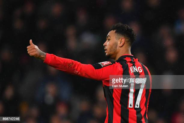 Joshua King of AFC Bournemouth reacts during the Premier League match between AFC Bournemouth and West Ham United at Vitality Stadium on December 26...
