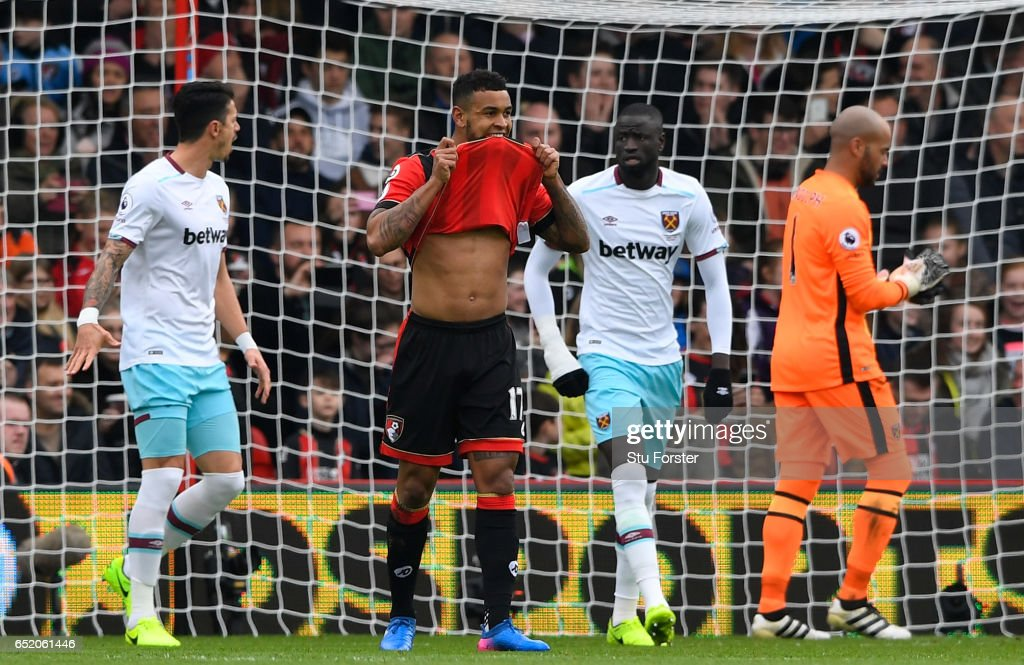 Joshua King of AFC Bournemouth reacts to missing a penalty during the Premier League match between AFC Bournemouth and West Ham United at Vitality Stadium on March 11, 2017 in Bournemouth, England.
