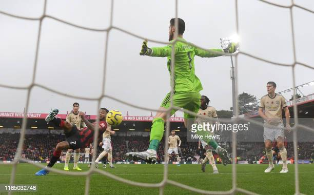 Joshua King of AFC Bournemouth scores his sides first goal during the Premier League match between AFC Bournemouth and Manchester United at Vitality...