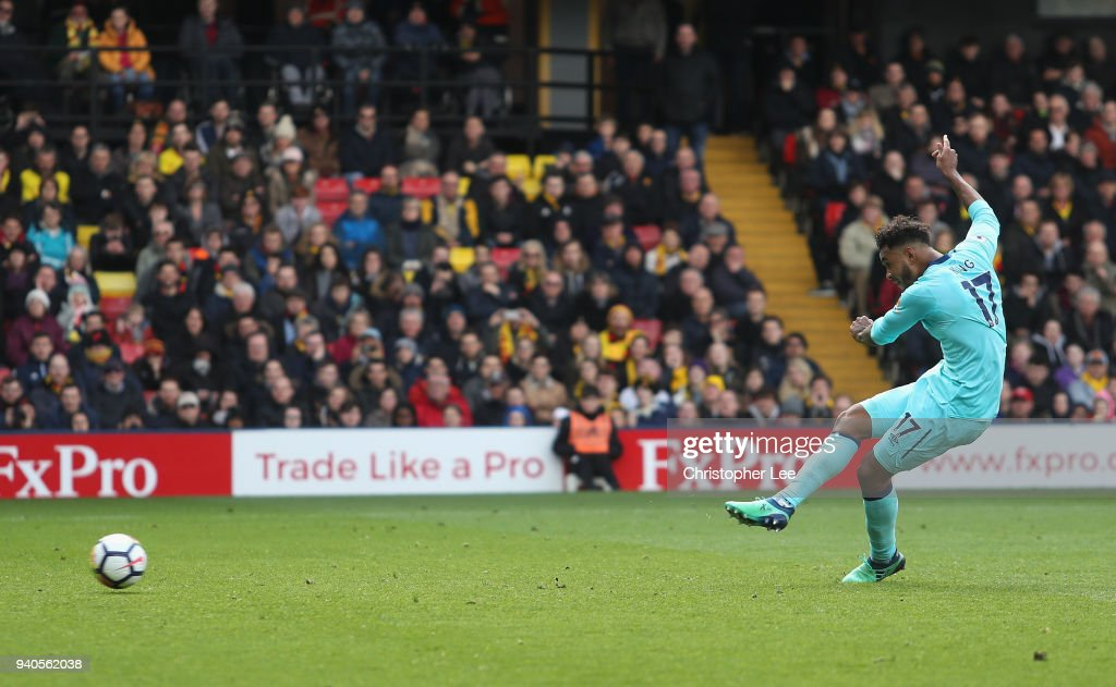 Joshua King of AFC Bournemouth scores his sides first goal during the Premier League match between Watford and AFC Bournemouth at Vicarage Road on March 31, 2018 in Watford, England.
