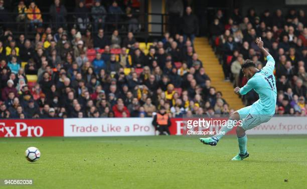 Joshua King of AFC Bournemouth scores his sides first goal during the Premier League match between Watford and AFC Bournemouth at Vicarage Road on...