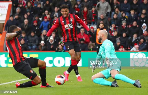 Joshua King of AFC Bournemouth scores his sides second goal during the Premier League match between AFC Bournemouth and Chelsea FC at Vitality...