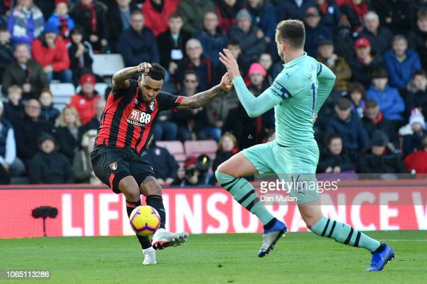 Joshua King of AFC Bournemouth scores his team's first goal during the Premier League match between AFC Bournemouth and Arsenal FC at Vitality...