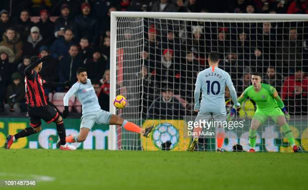 Joshua King of AFC Bournemouth scores his team's first goal past Kepa Arrizabalaga of Chelsea during the Premier League match between AFC Bournemouth...