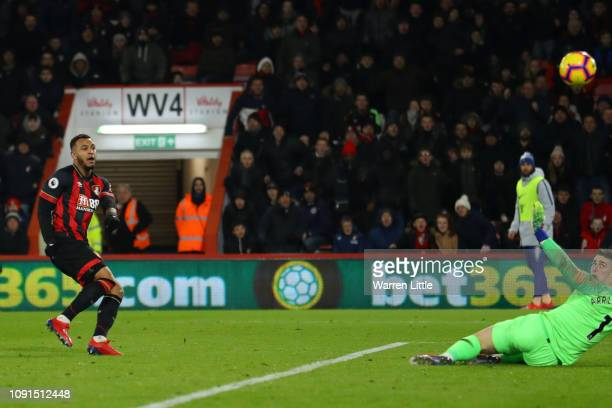 Joshua King of AFC Bournemouth scores his team's third goal during the Premier League match between AFC Bournemouth and Chelsea FC at Vitality...