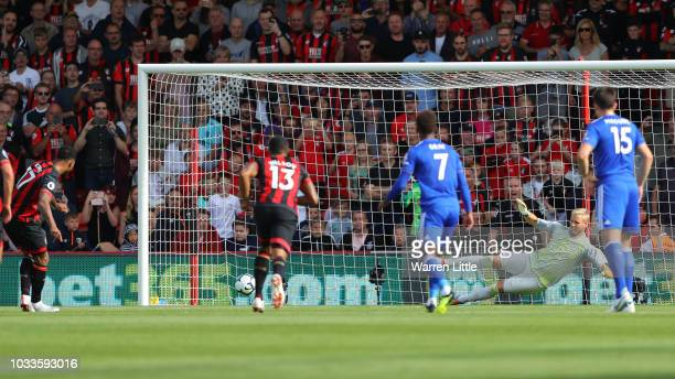 Joshua King of AFC Bournemouth scores his team's third goal from a penalty during the Premier League match between AFC Bournemouth and Leicester City...