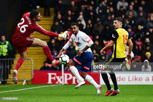 Joshua King of AFC Bournemouth scores his team's third goal past Ben Foster of Watford during the Premier League match between Watford FC and AFC...